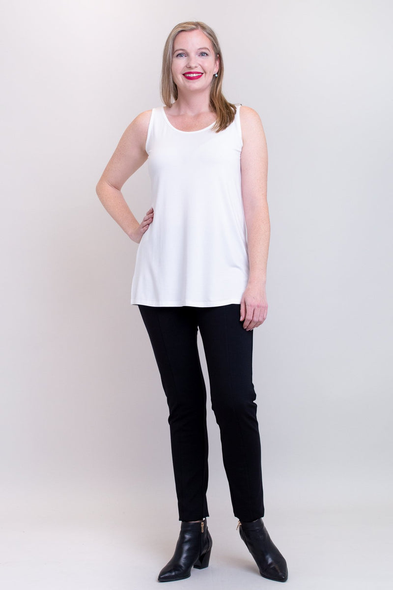 Relaxed Tank, White, Bamboo