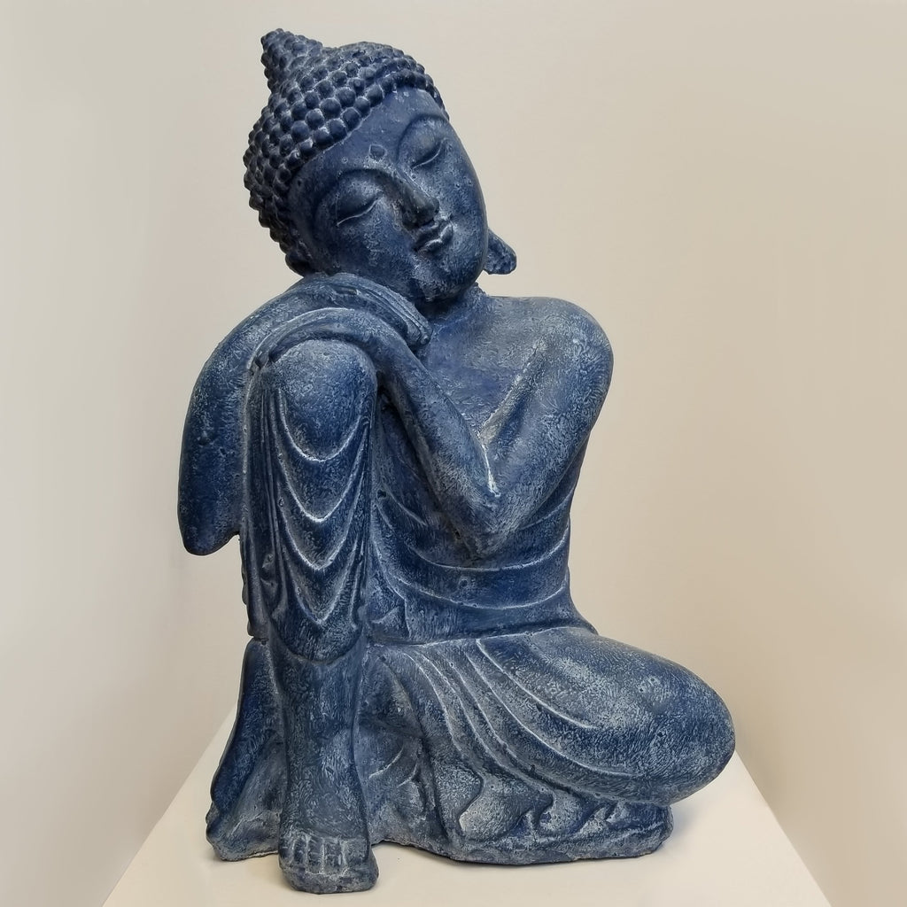 Blue Relaxing Buddha Cement Statue - Blue Sky Clothing Co