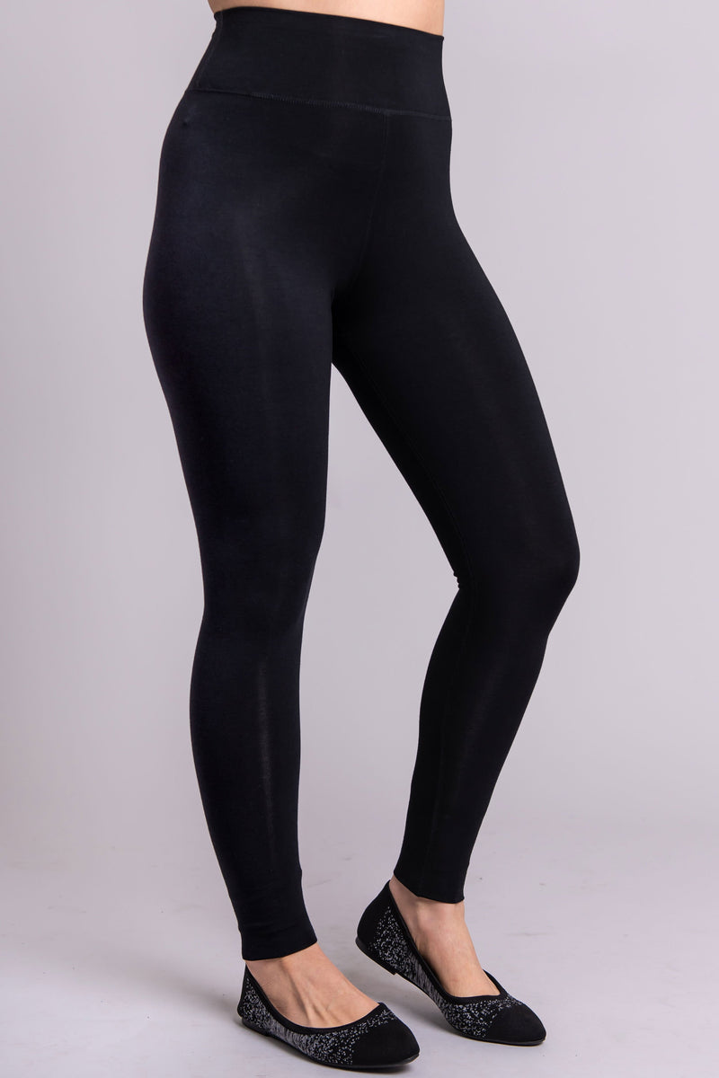 Women's basic black high-waisted legging for casual or workout wear.