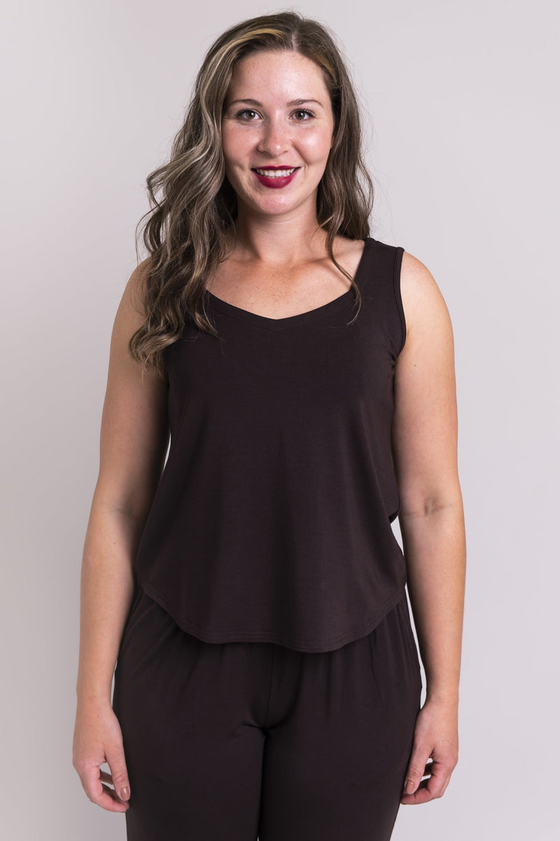 Women's coffee brown short bodice sweetheart neckline tank top shirt with wide shoulder straps.