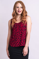 Women's red cheetah short bodice sweetheart neckline tank top shirt with wide shoulder straps.