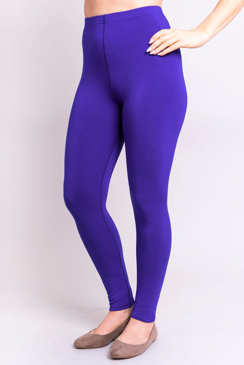Women's basic and comfy bright blue legging for casual or workout wear, made with natural and sustainable bamboo fibers.