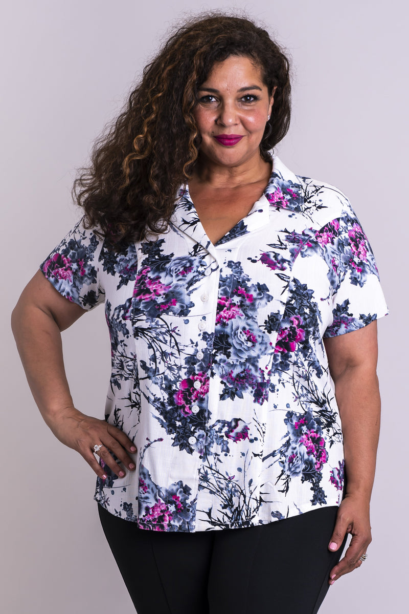 Samantha Top, New Expression, Linen Bamboo - Blue Sky Clothing Co