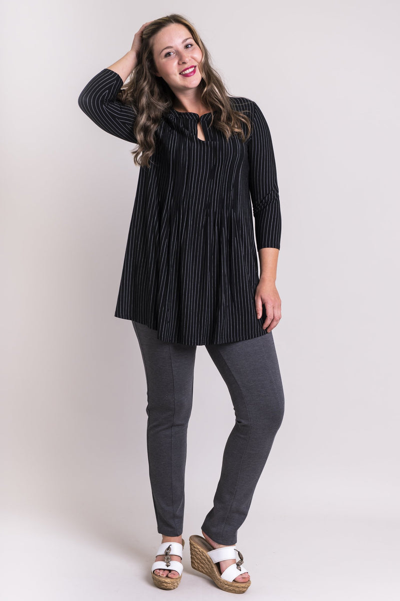 Sandy Tunic, BW Pin Stripe, Bamboo Modal