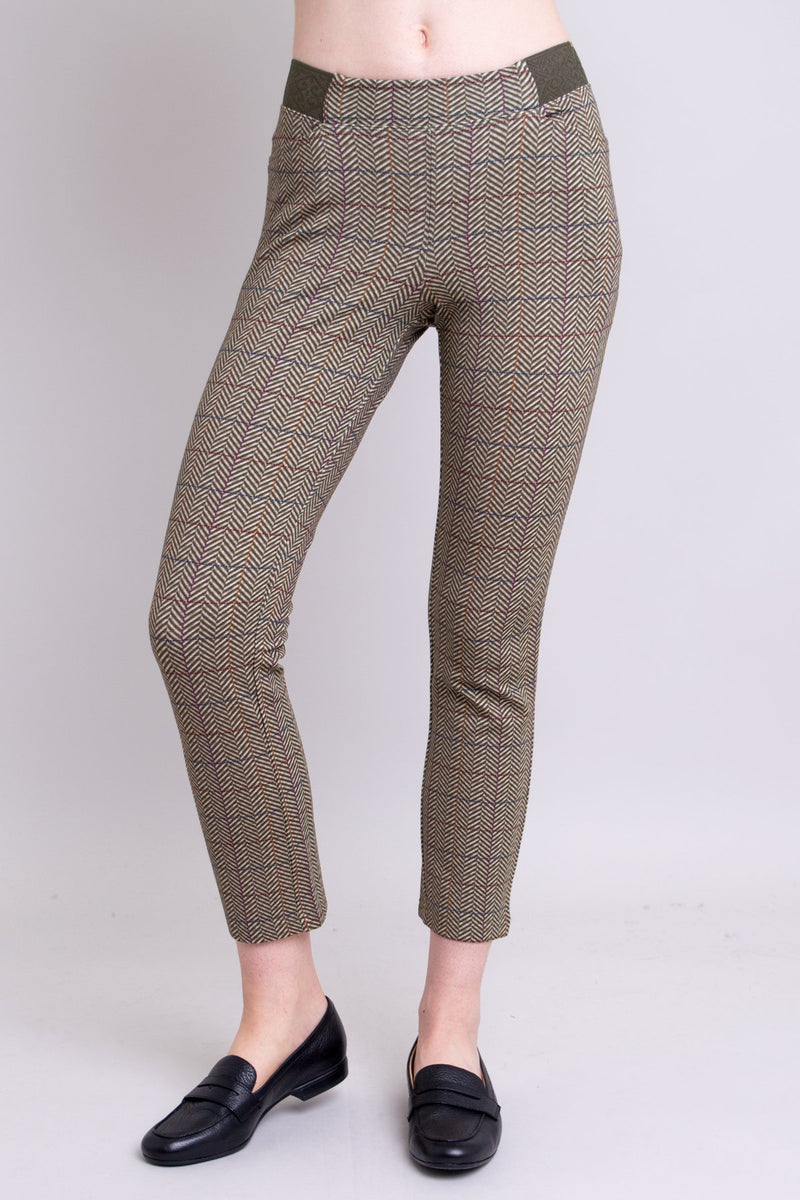 Women's Harris tweed cropped fitted pant leggings for office or formal wear, made from natural bamboo fibers.