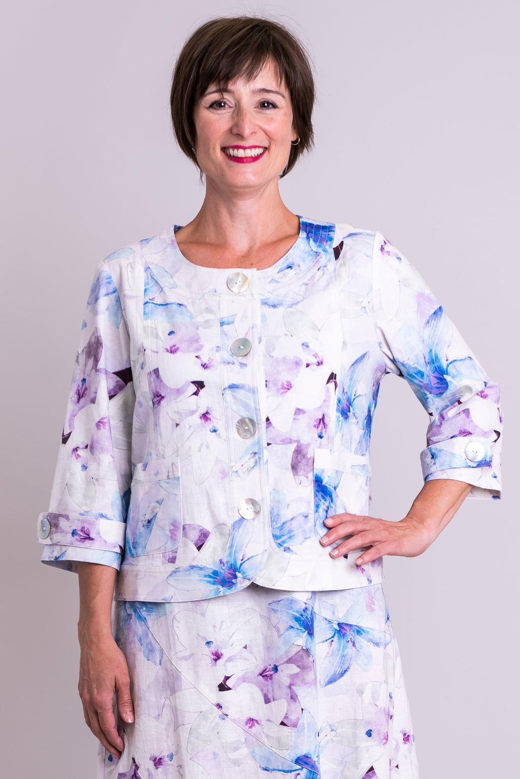 Savannah Jacket, Valley Lilies, Linen Viscose - Blue Sky Clothing Co