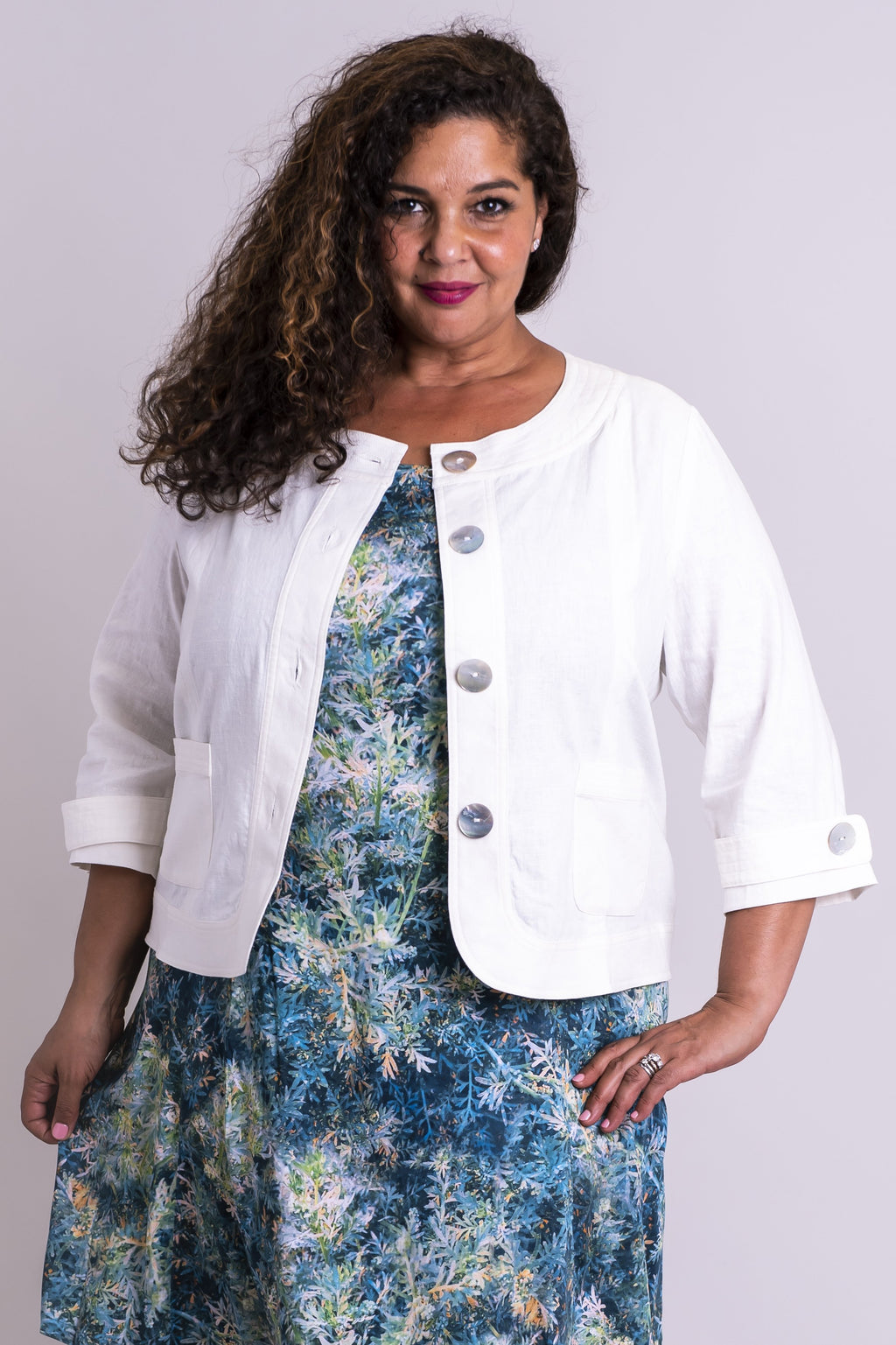Savannah Jacket, White, Linen Viscose - Blue Sky Clothing Co