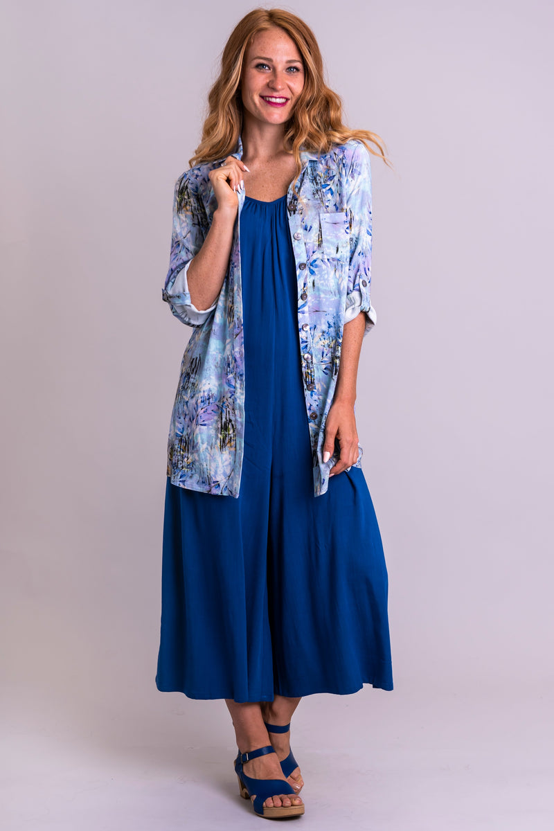 Serene Tunic, Blue Zest, Linen Bamboo - Blue Sky Clothing Co