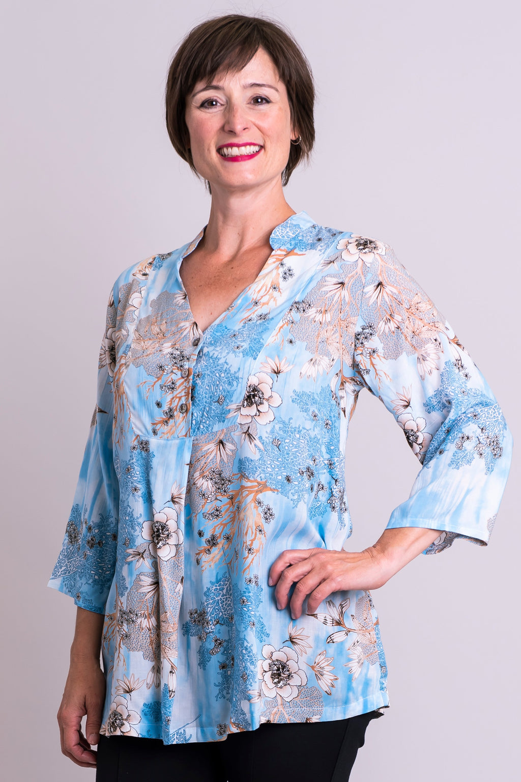 Shirley Blouse, Blue Reef, Viscose - Blue Sky Clothing Co