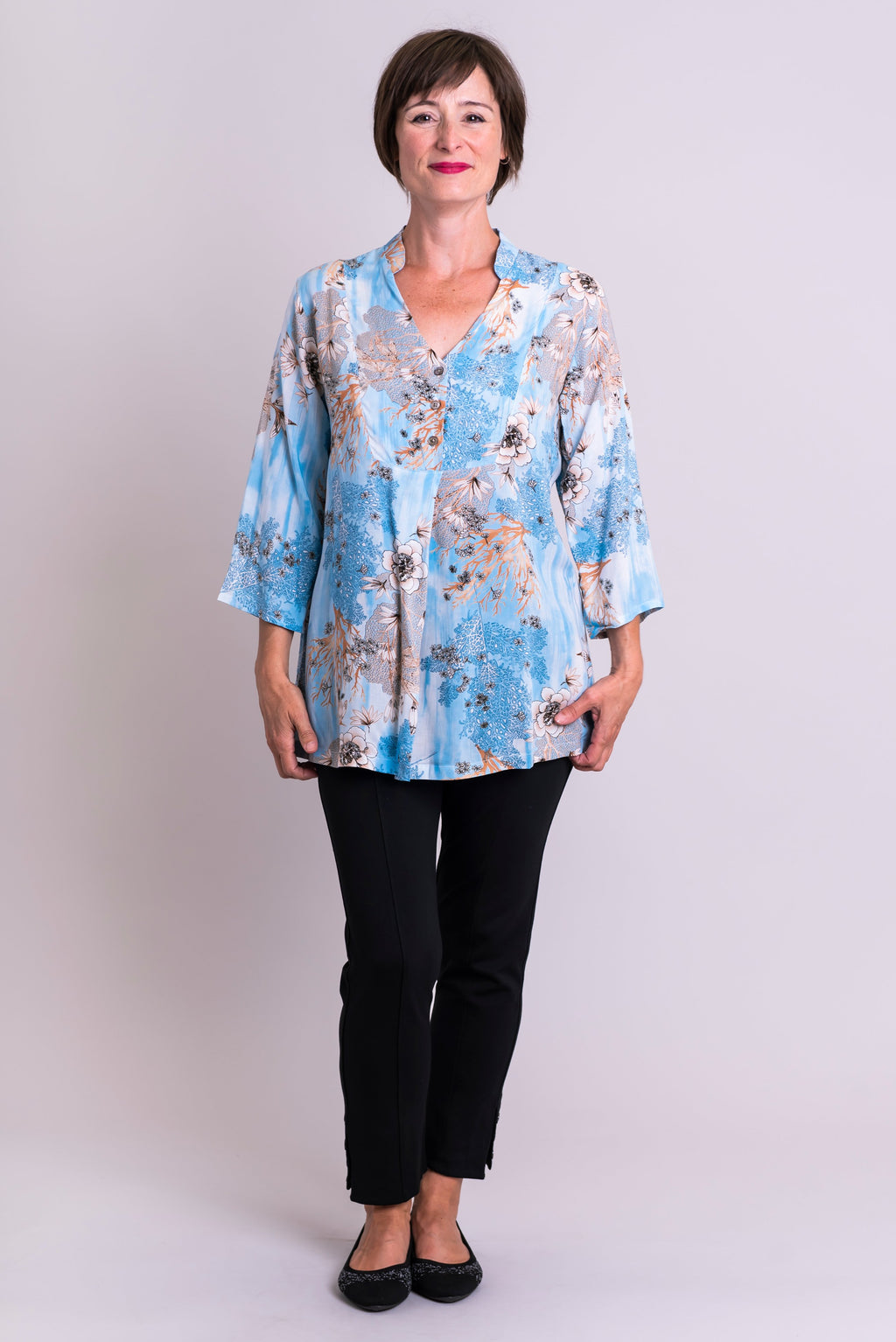 Shirley Blouse, Blue Reef, Viscose