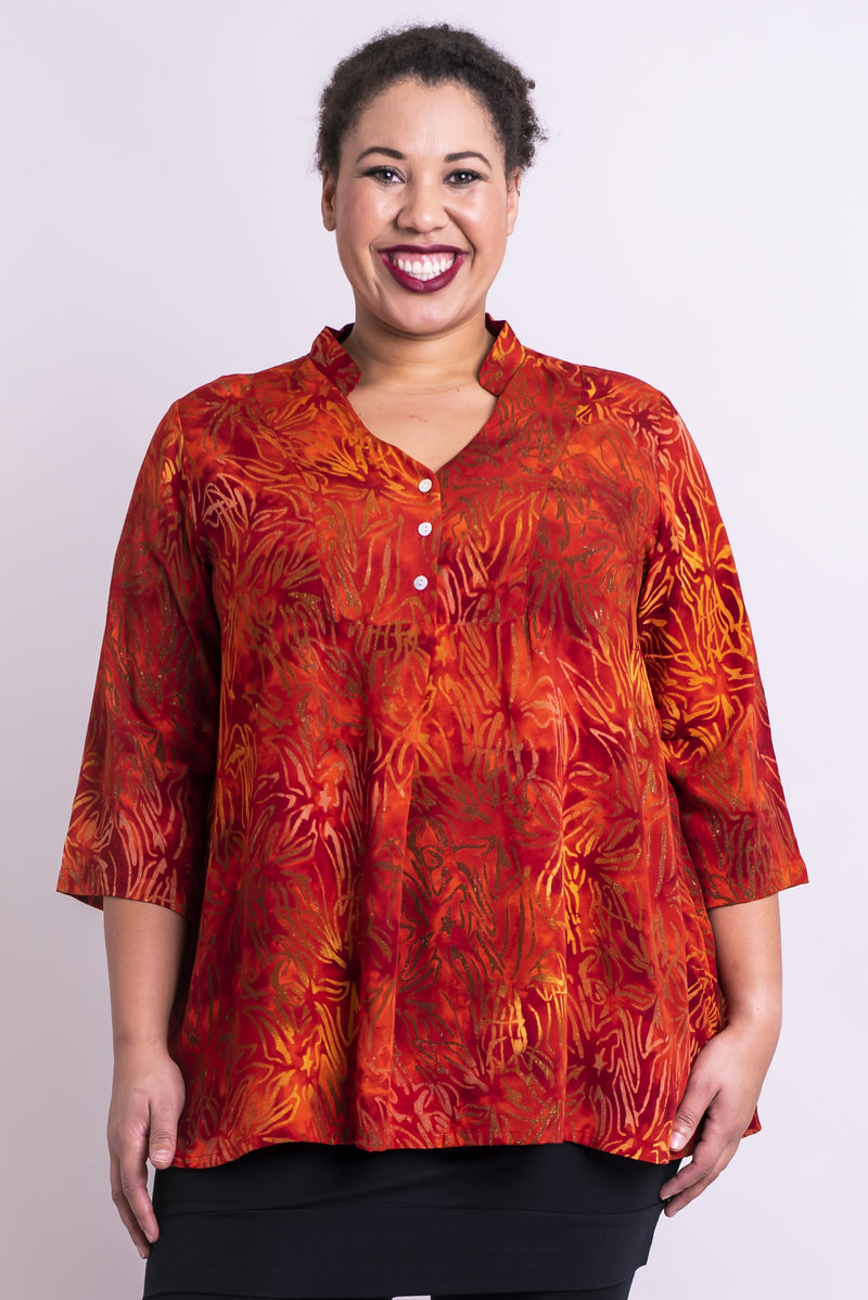 Women's red tone batik art 3/4 sleeve blouse tunic shirt with with V-neck, and mandarin collar.