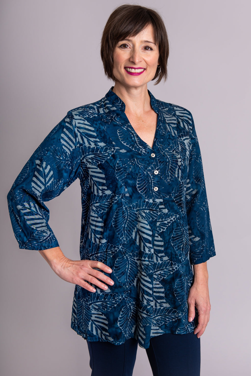 Shirley Blouse, Indigo/Grey Leaves - Blue Sky Clothing Co