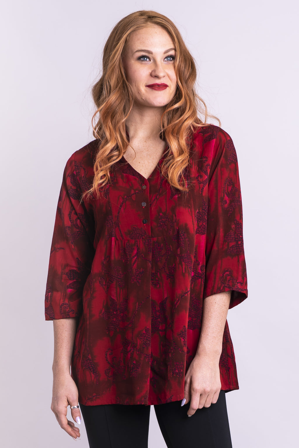 Shirley Blouse, Red Theory, Batik Art - Blue Sky Clothing Co