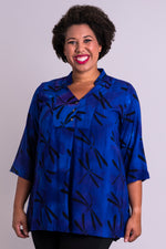 Women's blue dragonfly batik art 3/4 sleeve blouse tunic shirt with with V-neck, and mandarin collar.