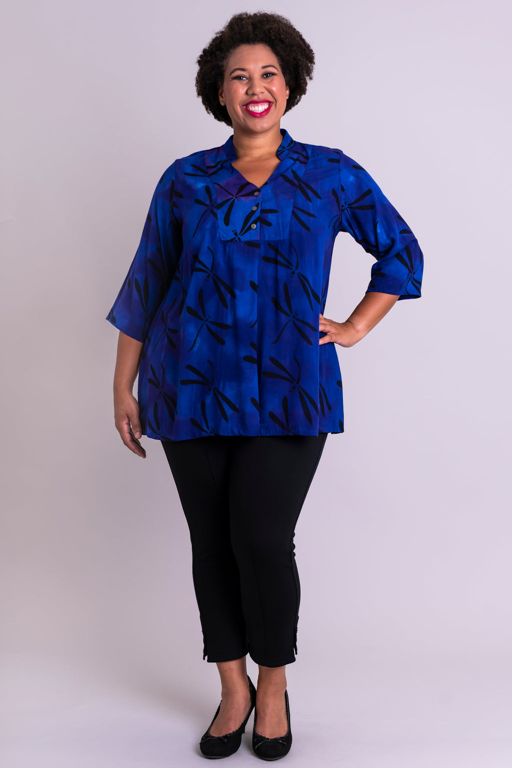 Shirley Blouse, Violet Dragonfly, Batik Art - Blue Sky Clothing Co