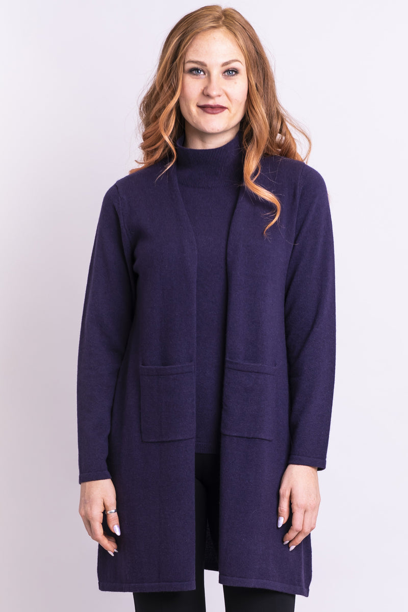 Women's purple warm and cozy long sleeve open front cardigan sweater, made with natural wool and cashmere.