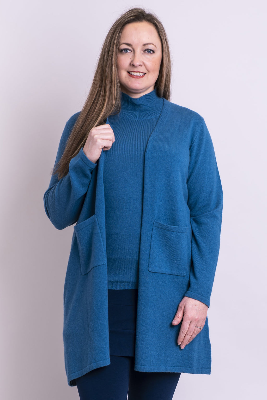 Slick Sweater, Blue Topaz, Cashmere - Blue Sky Clothing Co