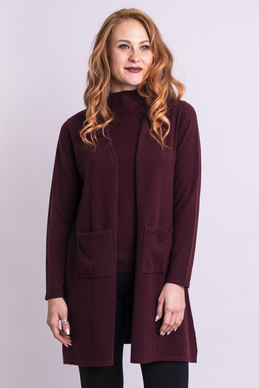 Slick Sweater, Garnet, Cashmere - Blue Sky Clothing Co