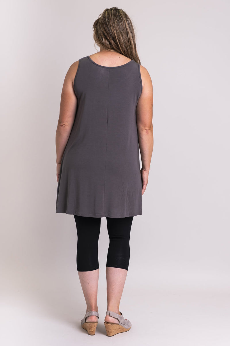 Spirit Dress, Charcoal, Bamboo Modal