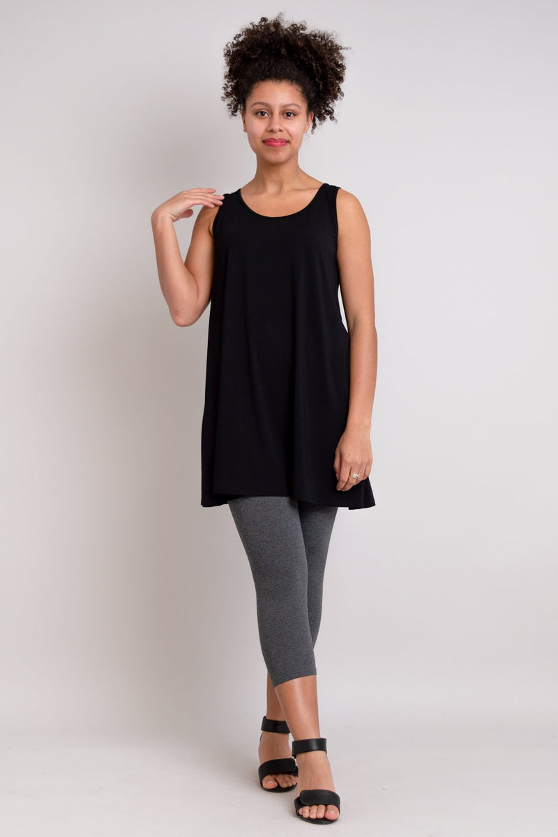 Women's casual black sleeveless tunic dress with U-neck made from natural bamboo fiber.