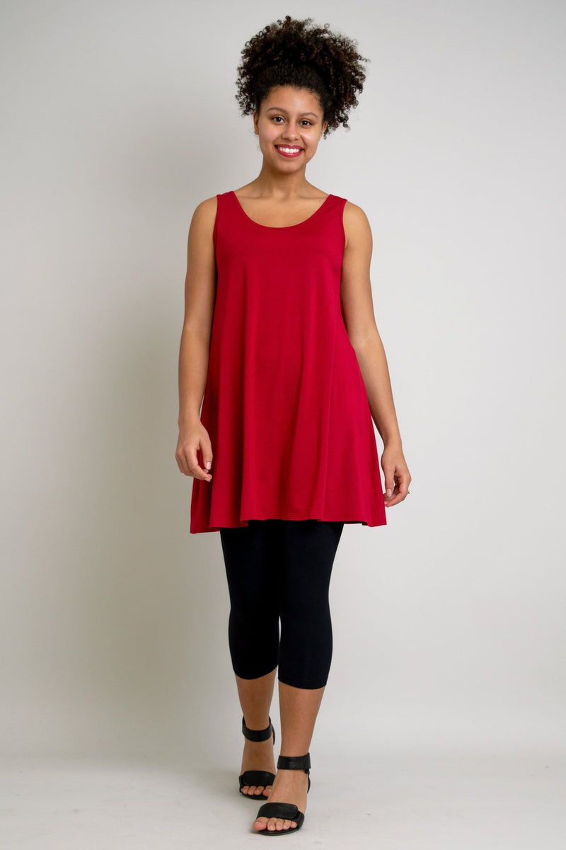 Women's casual red sleeveless tunic dress with U-neck, made from natural bamboo fibers.