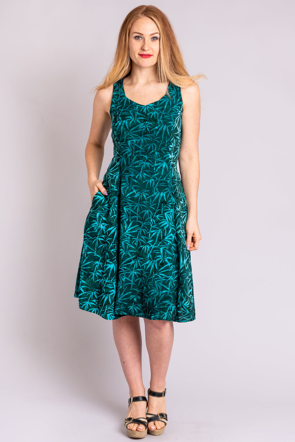 Sweet Sara Dress, Bamboo Forest, Batik Art - Blue Sky Clothing Co