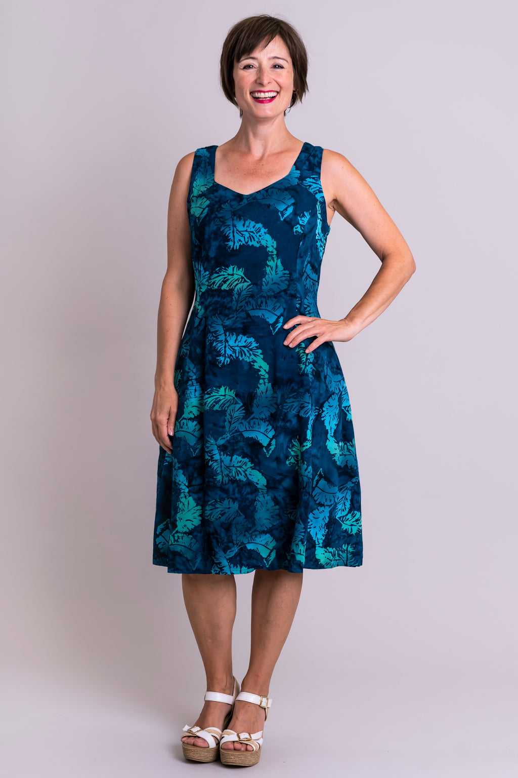 Sweet Sara Dress, Blue Feathers, Batik Art - Blue Sky Clothing Co