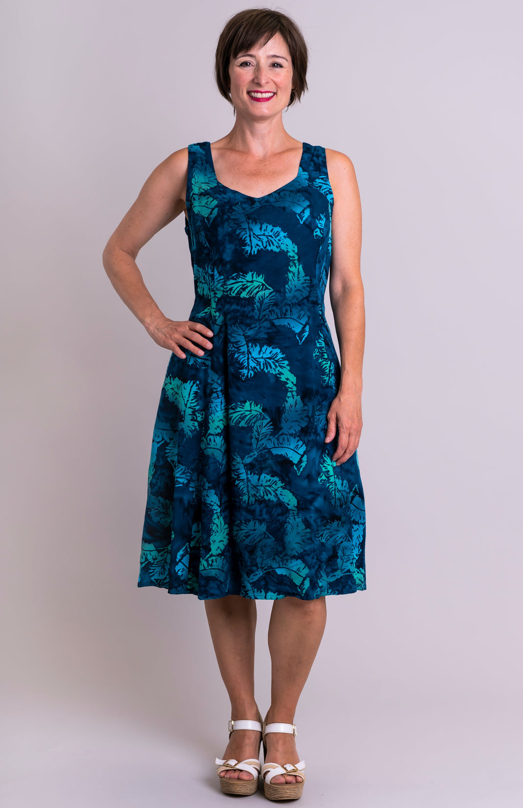 Sweet Sara Dress, Blue Feathers, Batik Art