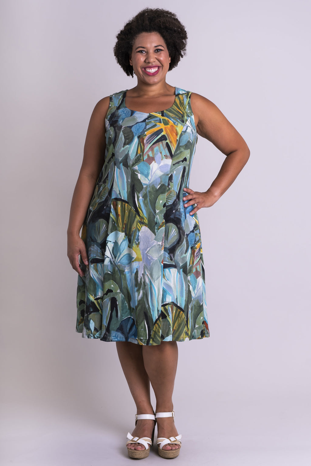 Sweet Sara Dress, Green Room, Linen Bamboo - Blue Sky Clothing Co
