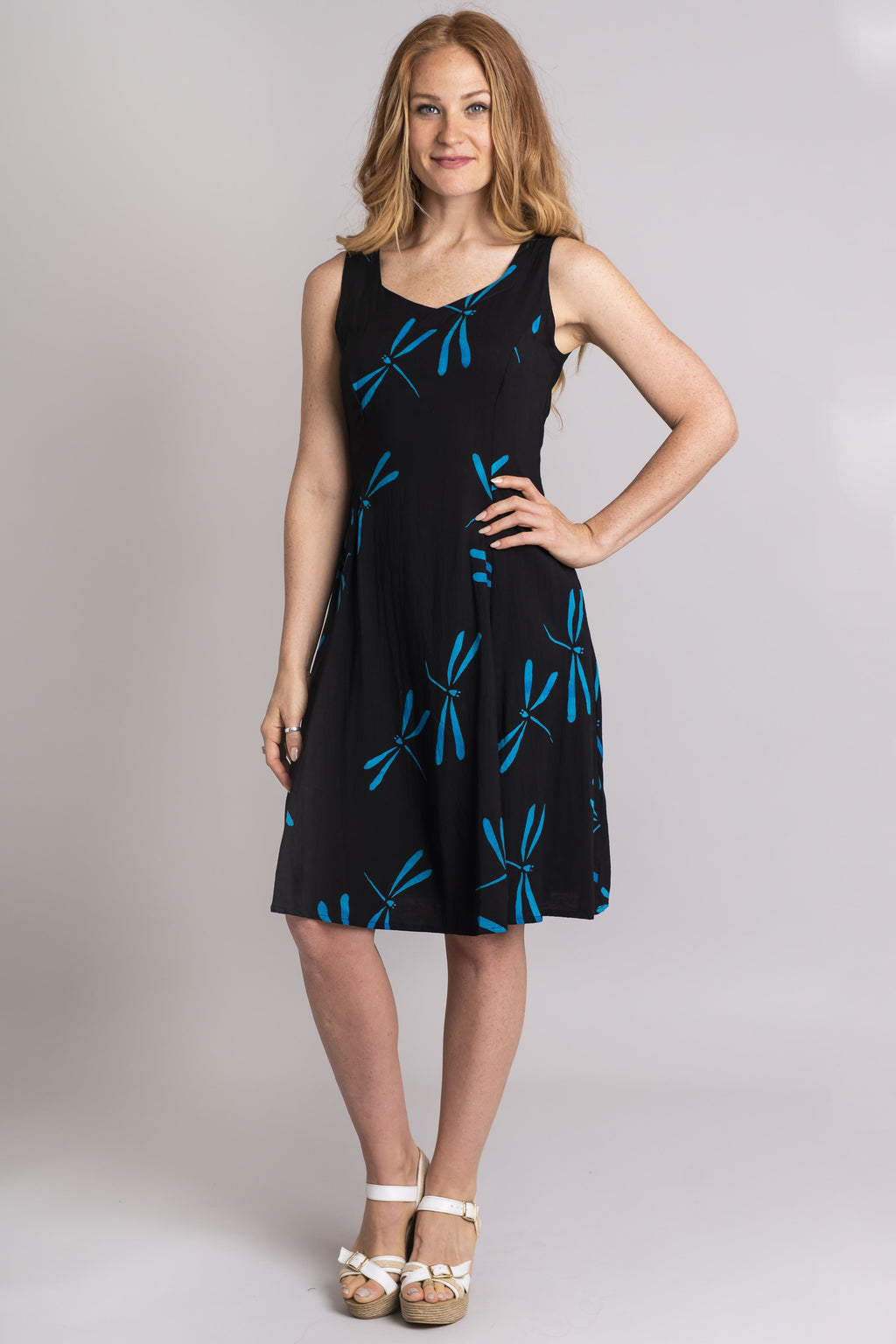 Sweet Sara Dress, Black/Turq Dragonfly, Viscose - Blue Sky Clothing Co