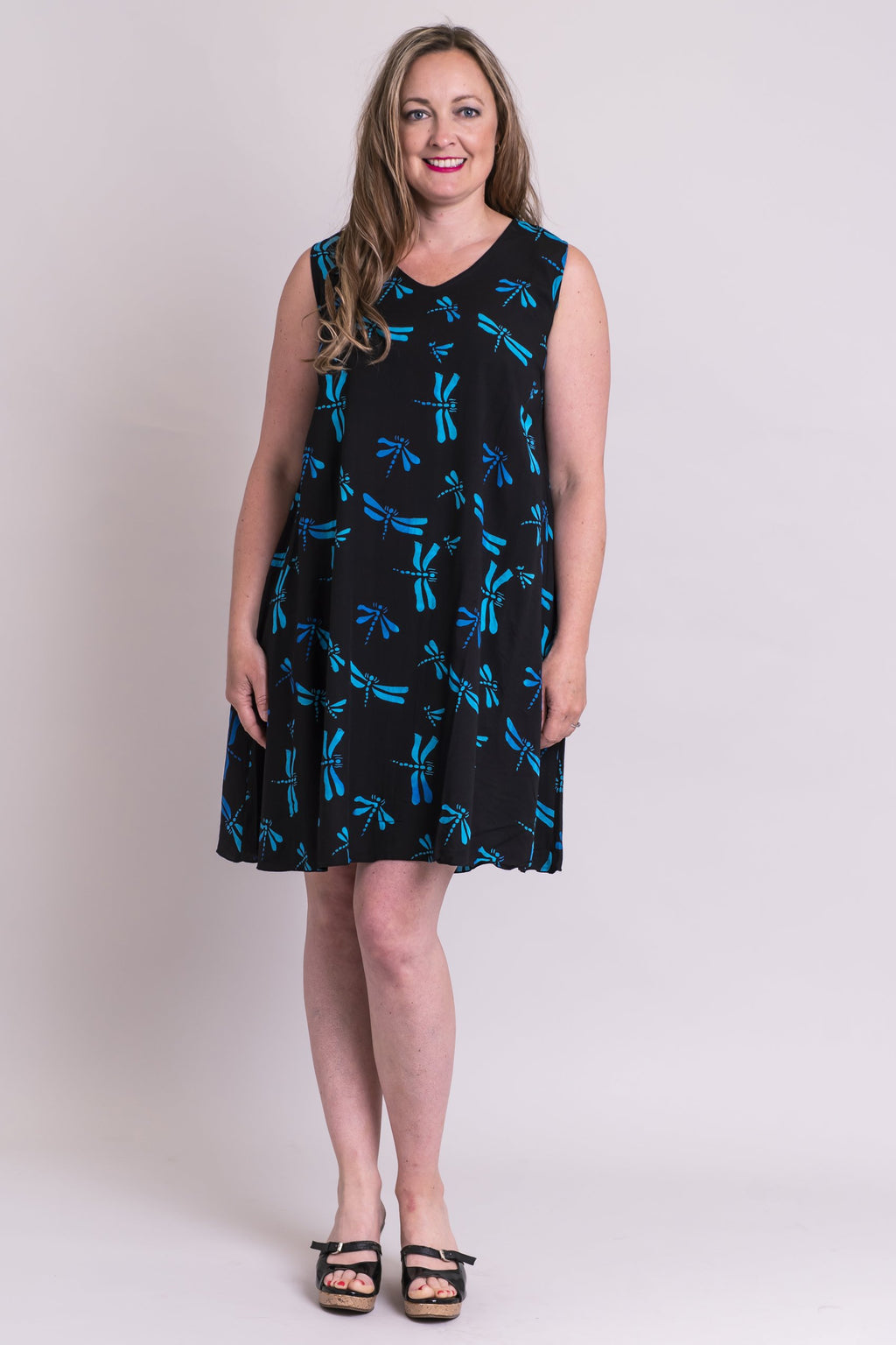 Swing N/S Dress, Turq Dragonfly, Batik Art - Blue Sky Clothing Co
