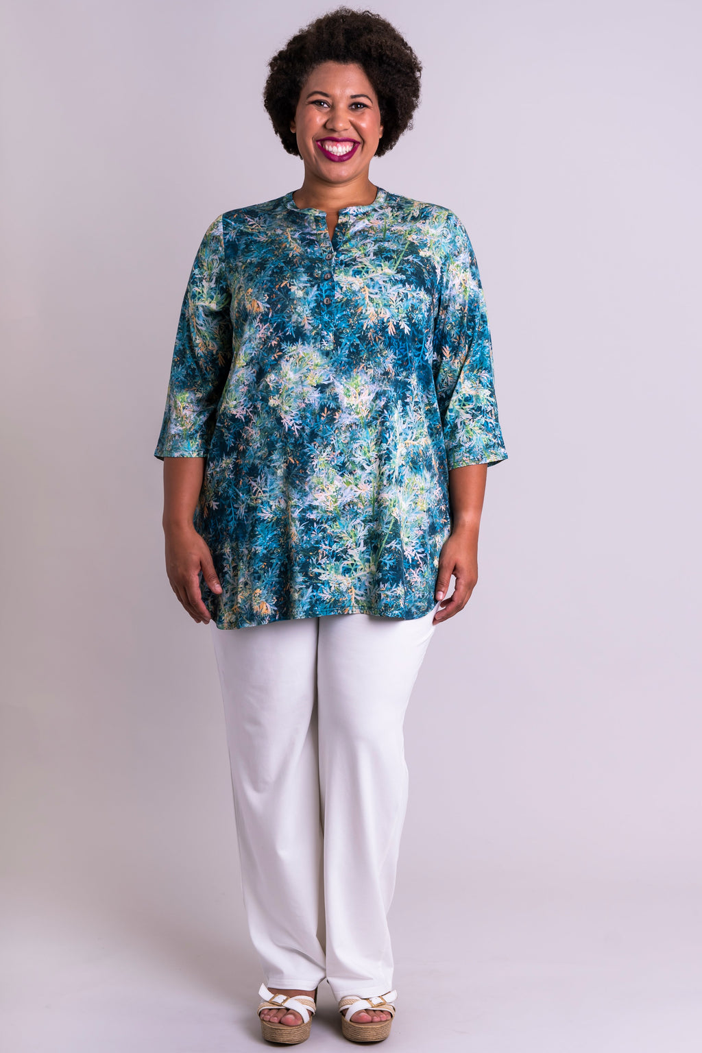 Tara Blouse, Fresh Sprig, Viscose - Blue Sky Clothing Co