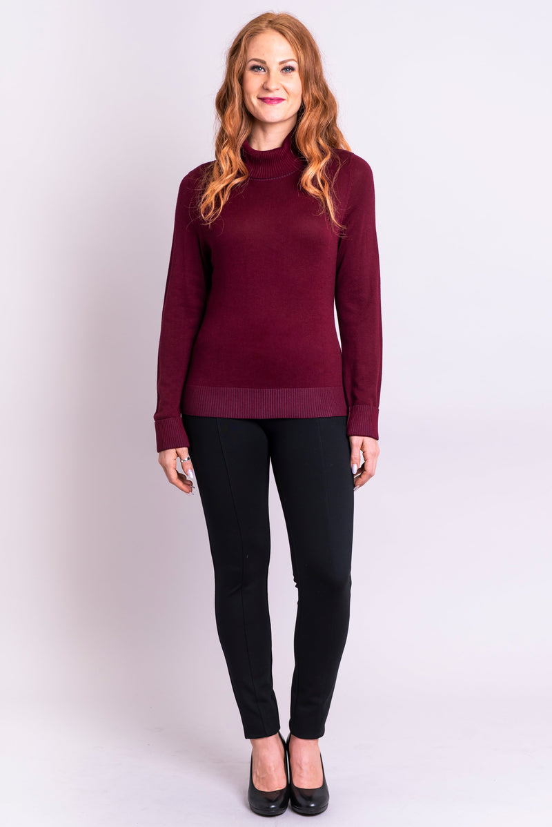 Taylor Sweater, Burgundy, Bamboo Cotton - Blue Sky Clothing Co