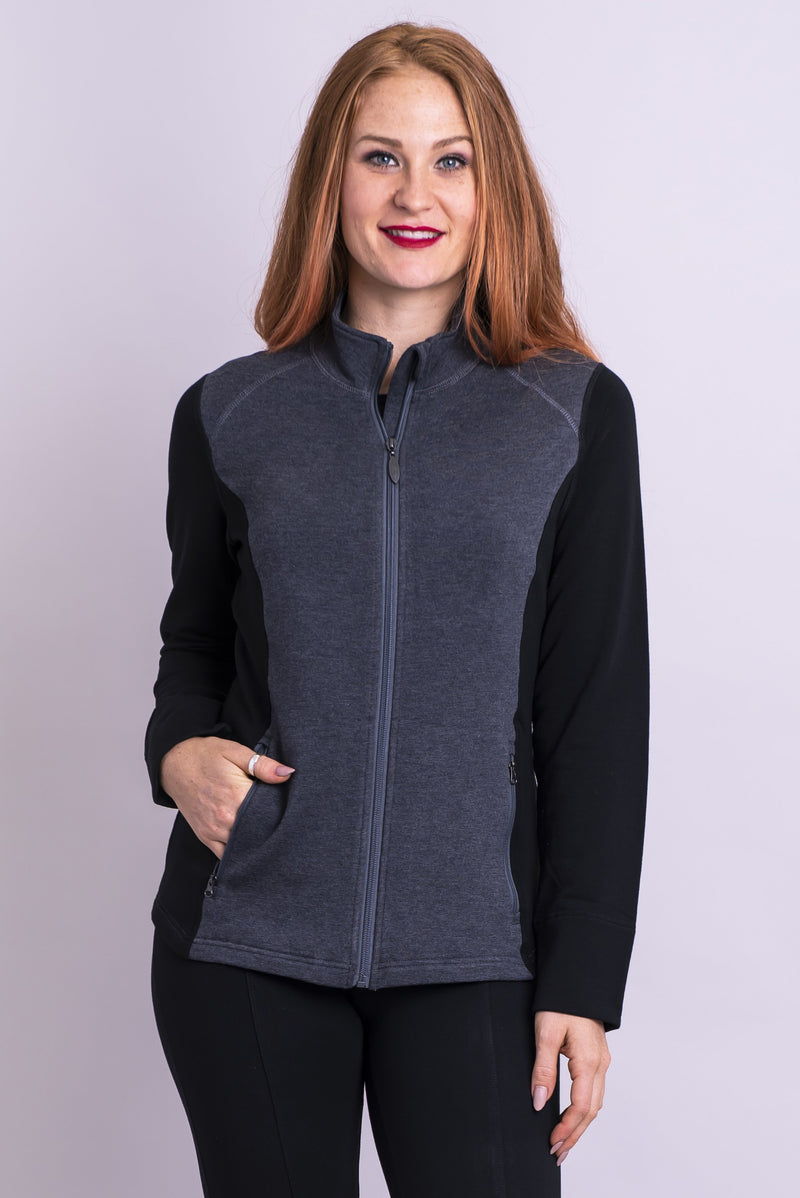 Women's black and grey bamboo fleece cropped jacket with collar, front zipper, and pockets.