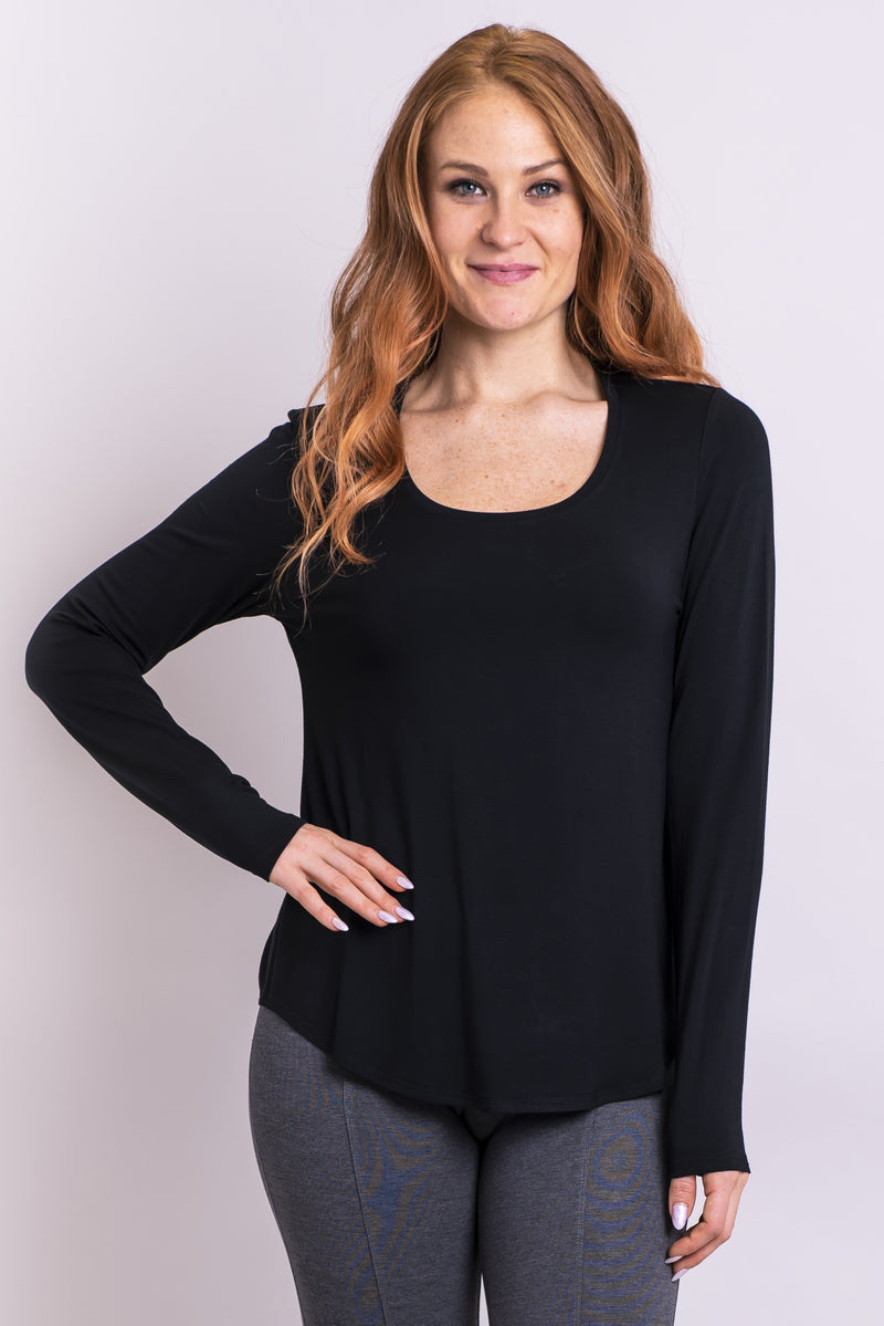 Women's black long sleeve round neckline casual shirt made with natural bamboo fibers.