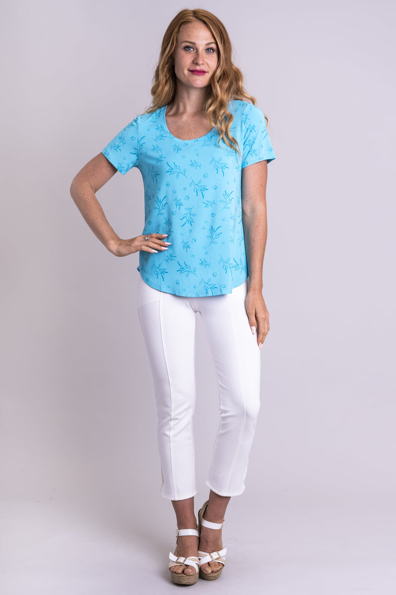 Tessa Tee, Aqua Grains, Bamboo - Blue Sky Clothing Co