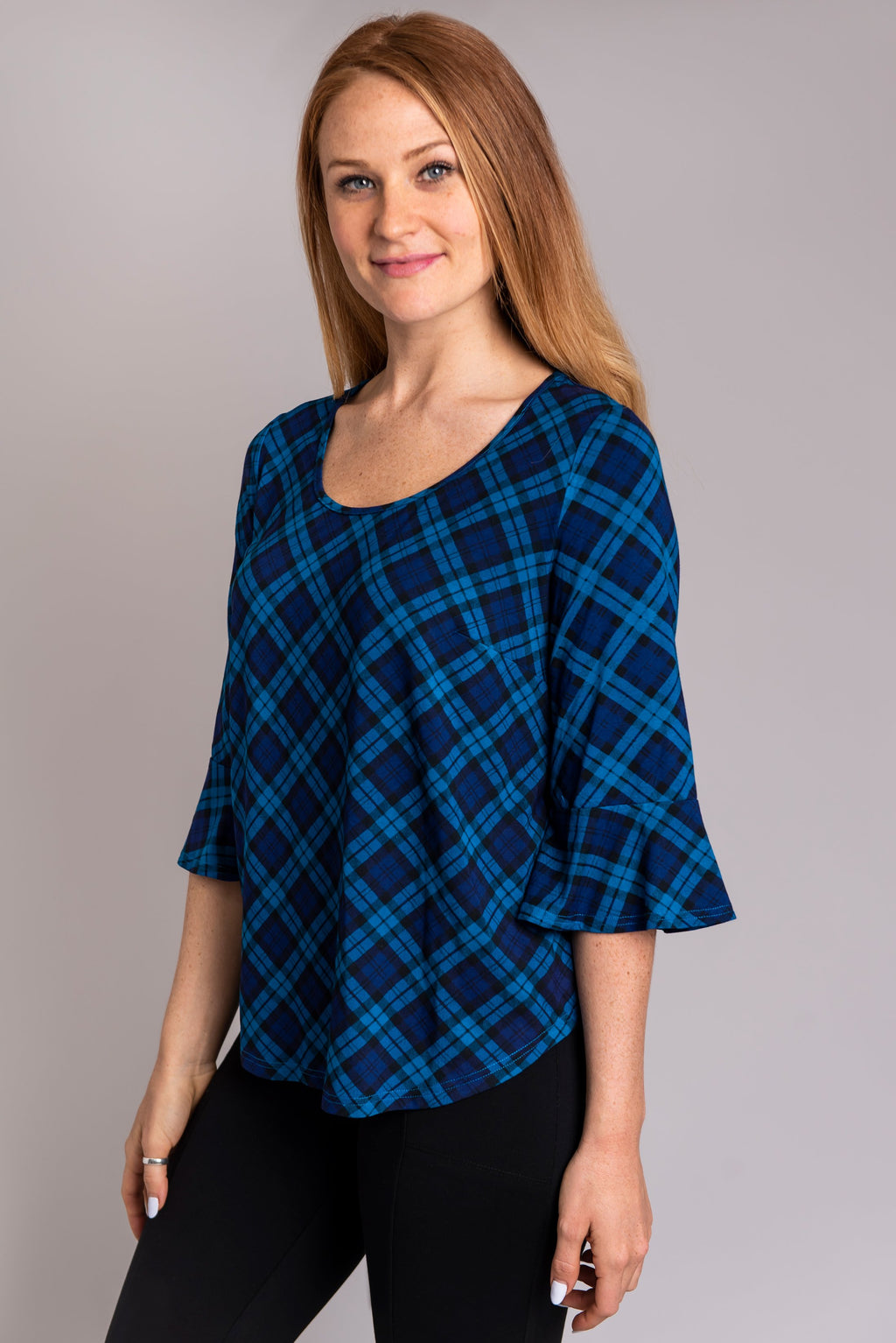 Tiller Top, Teal Plaid