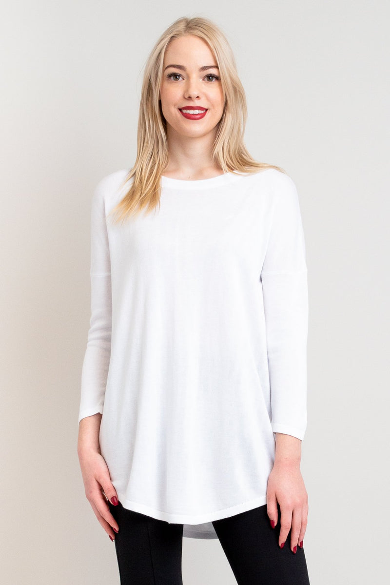 Women's long white 3/4 sleeve sweatshirt with round neckline.