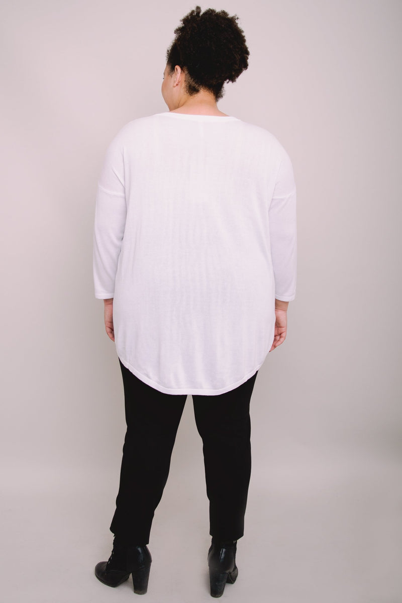 Tina Sweater, White, Bamboo Cotton