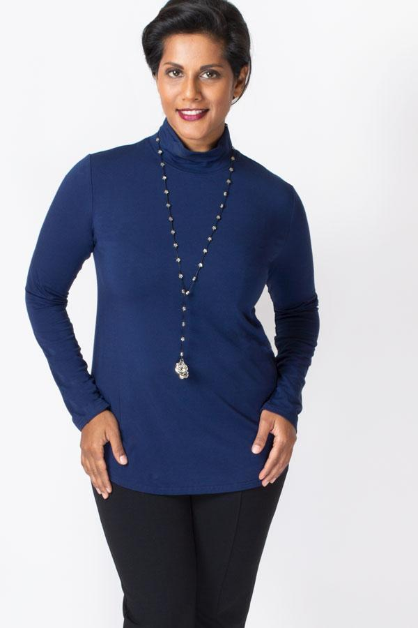 Women's indigo blue long sleeve lightweight turtleneck.