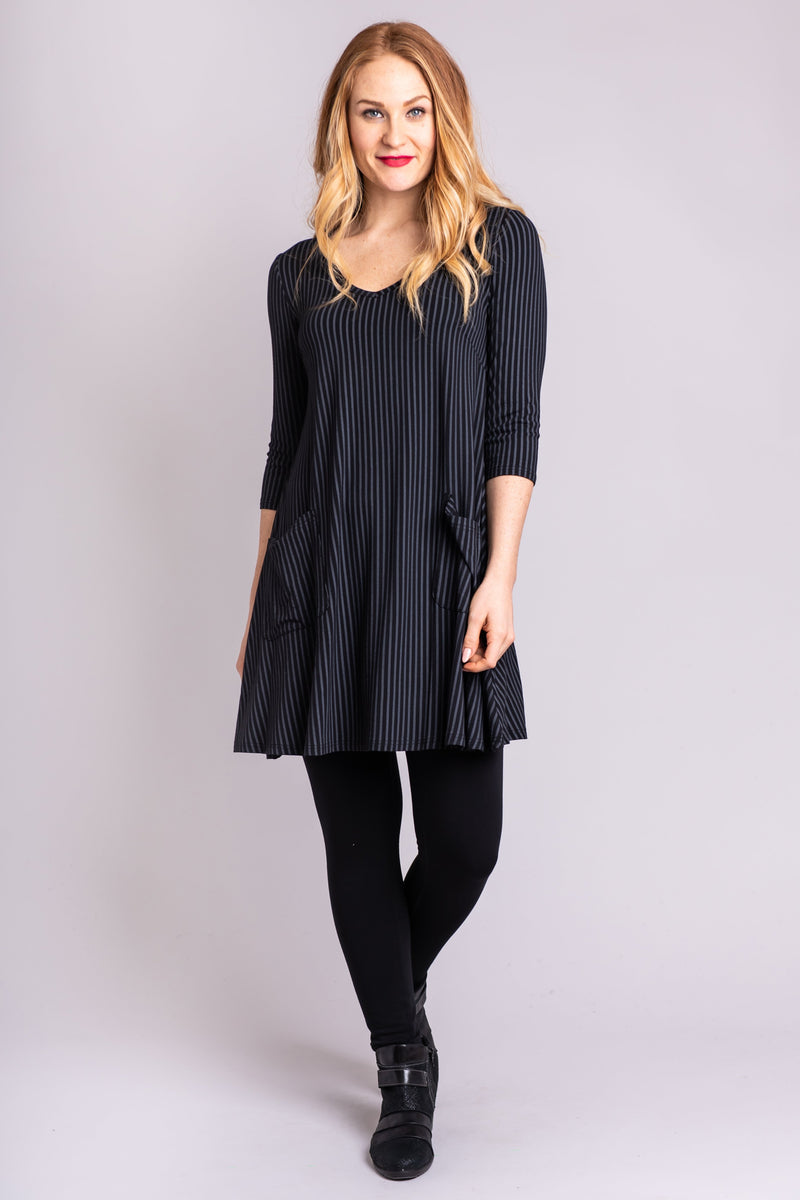 Veronica Tunic, Blk/Grey Stripe, Bamboo - Blue Sky Clothing Co
