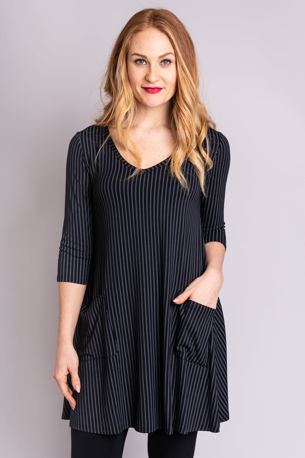 Veronica Tunic, Black Grey Stripe - Blue Sky Clothing Co