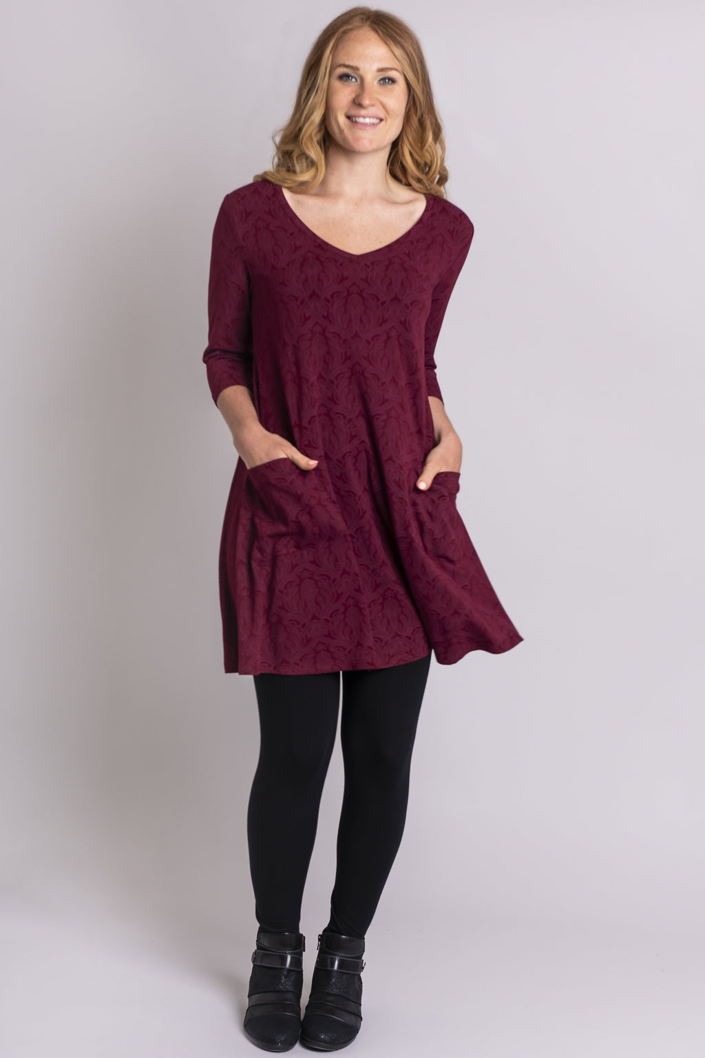 Veronica Tunic, Bordeaux Lovers, Bamboo - Blue Sky Clothing Co