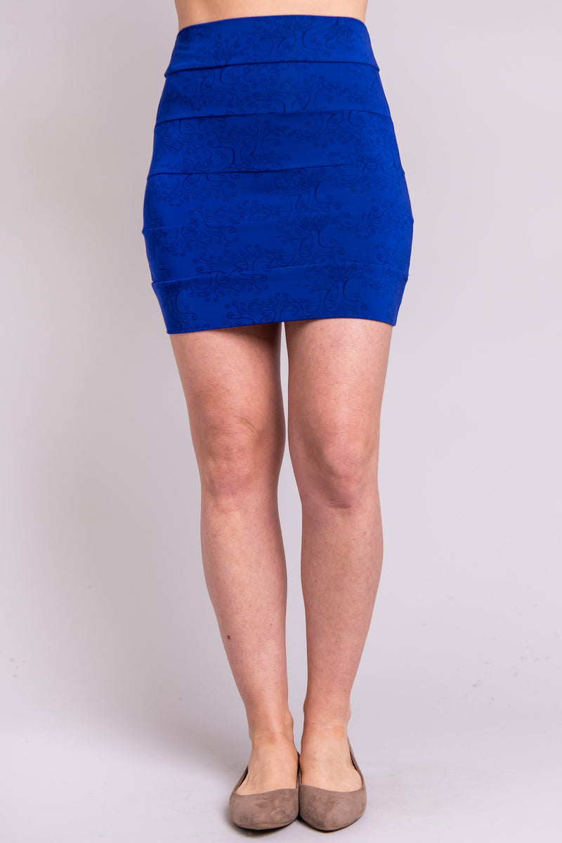 Women's blue fitted short stretchy skirt, made with natural bamboo fibers.