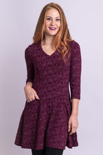 Women's Bordeaux red 3/4 sleeve fitted bodice V-neck tunic dress with pockets, made with natural bamboo fibers.