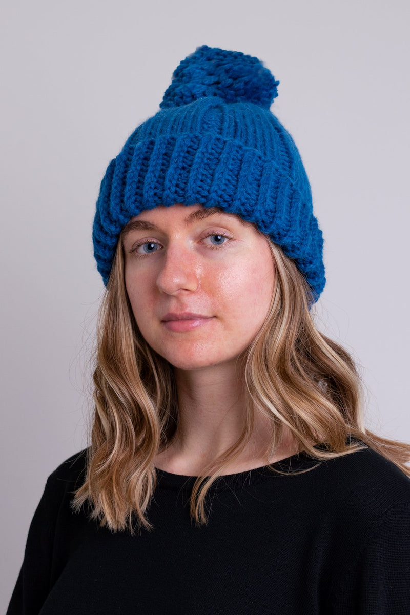 Hand Knit Toque, Teal, Wool