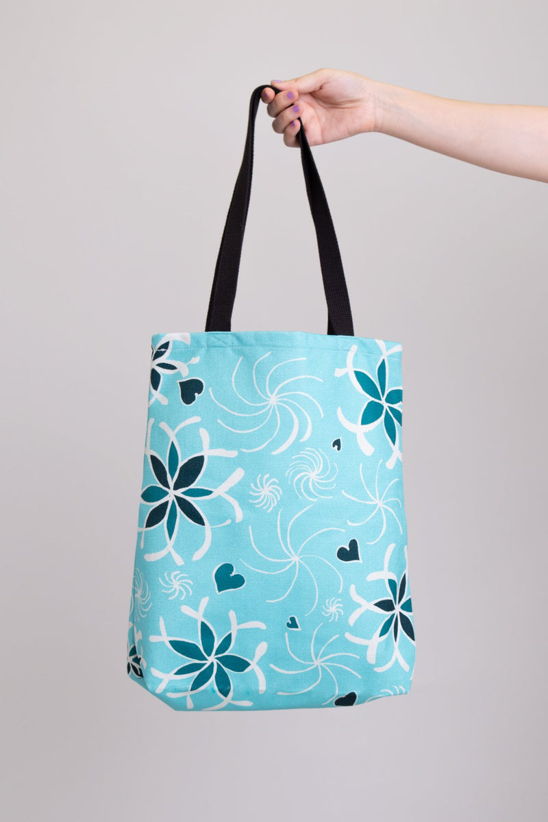 Local Canadian artist blue heart and flower tote bag.