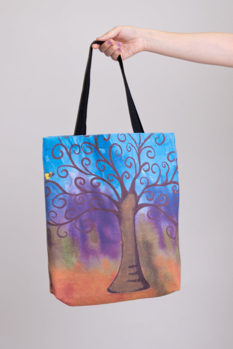 Local Canadian artist blue tree print tote bag.