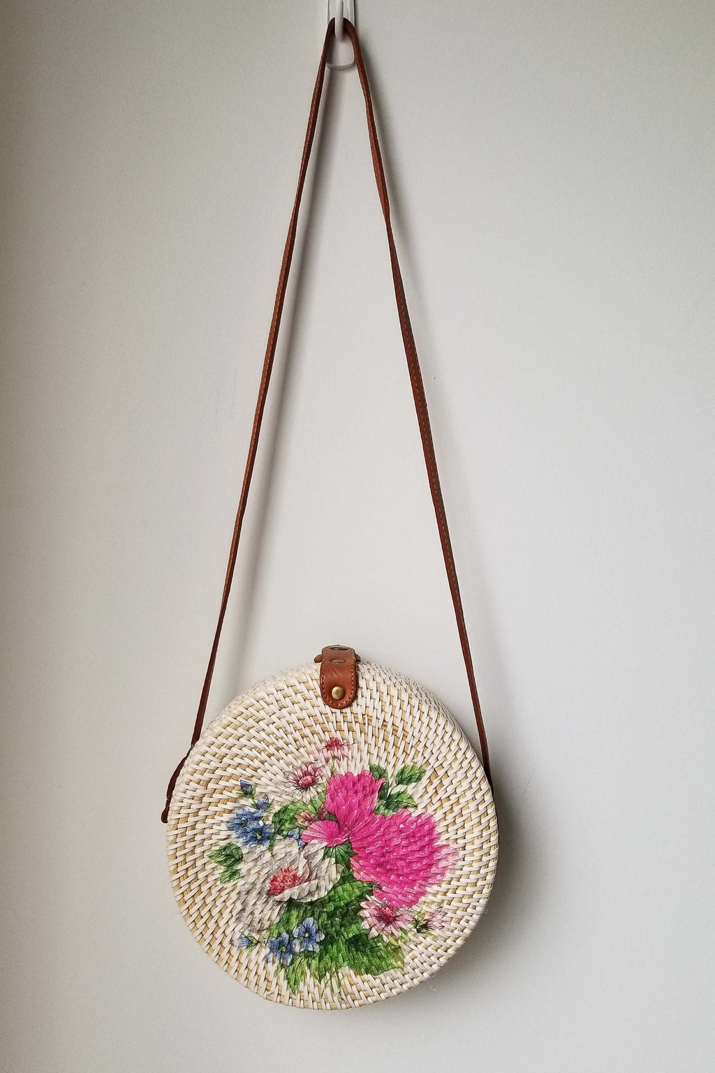 Round Rattan Purse, Assorted Print - Blue Sky Clothing Co