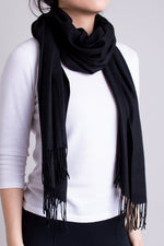 Women's black cozy warm stylish scarf.